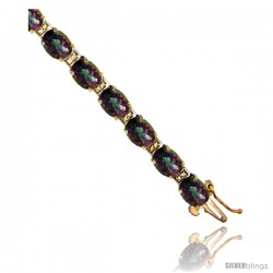 10K Yellow Gold Natural Mystic Topaz Oval Tennis Bracelet 5x7 mm stones, 7 in