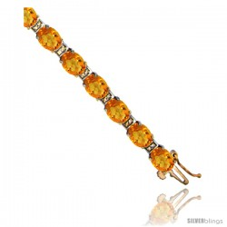 10K Yellow Gold Natural Citrine Oval Tennis Bracelet 5x7 mm stones, 7 in