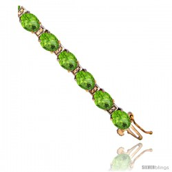 10K Yellow Gold Natural Peridot Oval Tennis Bracelet 5x7 mm stones, 7 in
