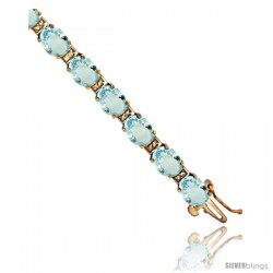 10K Yellow Gold Natural Aquamarine Oval Tennis Bracelet 5x7 mm stones, 7 in