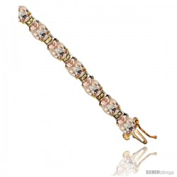 10K Yellow Gold Natural Morganite Oval Tennis Bracelet 5x7 mm stones, 7 in