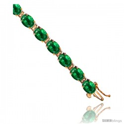 10K Yellow Gold Natural Emerald Oval Tennis Bracelet 5x7 mm stones, 7 in