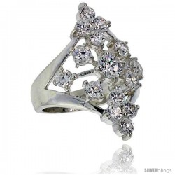 Highest Quality Sterling Silver 1 1/8 in (28 mm) wide Ladies' Diamond-shaped Right Hand Ring, Brilliant Cut CZ Stones