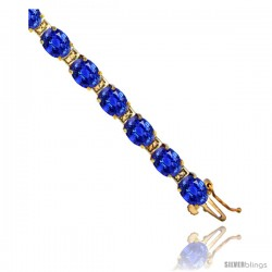 10K Yellow Gold Natural Blue Sapphire Oval Tennis Bracelet 5x7 mm stones, 7 in