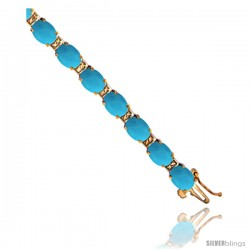 10K Yellow Gold Natural Turquoise Oval Tennis Bracelet 5x7 mm stones, 7 in
