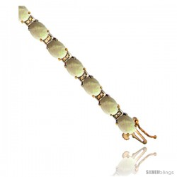 10K Yellow Gold Natural Opal Oval Tennis Bracelet 5x7 mm stones, 7 in