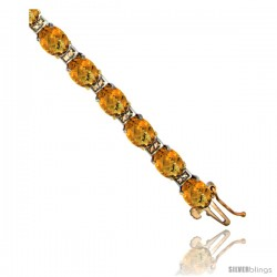 10K Yellow Gold Natural Whisky Quartz Oval Tennis Bracelet 5x7 mm stones, 7 in