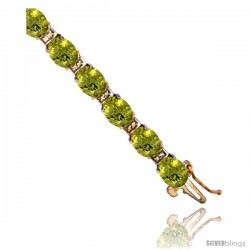 10K Yellow Gold Natural Lemon Quartz Oval Tennis Bracelet 5x7 mm stones, 7 in