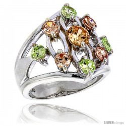 Highest Quality Sterling Silver 3/4 in (20 mm) wide Ladies' Right Hand Ring, Brilliant Cut Peridot & Yellow Topaz-colored CZ