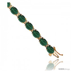 10K Yellow Gold Natural Malachite Oval Tennis Bracelet 5x7 mm stones, 7 in