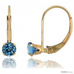 10k Yellow Gold Natural Blue Topaz Leverback Earrings 4mm Brilliant Cut December Birthstone, 9/16 in tall