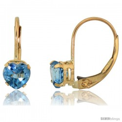 10k Yellow Gold Natural Blue Topaz Heart Leverback Earrings 5mm December Birthstone, 9/16 in tall