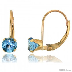 10k Yellow Gold Natural Blue Topaz Leverback Earrings 5mm Brilliant Cut December Birthstone, 9/16 in tall