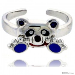 "Sterling Silver Child Size Panda Bear Ring, w/ Black, Lavender & Red Enamel Design, 5/16"" (8 mm) wide"