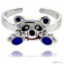 "Sterling Silver Child Size Panda Bear Ring, w/ Black, Lavender & Red Enamel Design, 5/16"" (8 mm) wide"