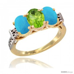 10K Yellow Gold Natural Peridot & Turquoise Sides Ring 3-Stone Oval 7x5 mm Diamond Accent
