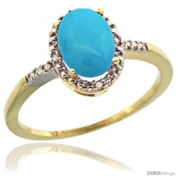 10k Yellow Gold Diamond Sleeping Beauty Turquoise Ring 1.17 ct Oval Stone 8x6 mm, 3/8 in wide