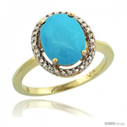 10k Yellow Gold Diamond Sleeping Beauty Turquoise Ring 2.4 ct Oval Stone 10x8 mm, 1/2 in wide -Style Cy918114