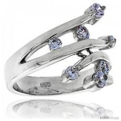 Highest Quality Sterling Silver 3/4 in (19 mm) wide Ladies' Right Hand Ring, Brilliant Cut CZ Stones