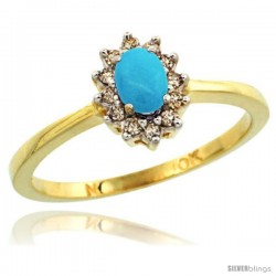 10k Yellow Gold Diamond Halo Turquoise Ring 0.25 ct Oval Stone 5x3 mm, 5/16 in wide