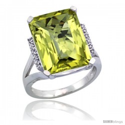 10k White Gold Diamond Lemon Quartz Ring 12 ct Emerald Cut 16x12 stone 3/4 in wide