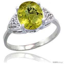 10k White Gold Diamond Lemon Quartz Ring 2.40 ct Oval 10x8 Stone 3/8 in wide