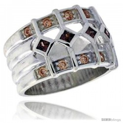 Highest Quality Sterling Silver 1/2 in (13 mm) wide Ladies' Right Hand Ring, Princess Cut Smoky Topaz-Colored & Brilliant Cut