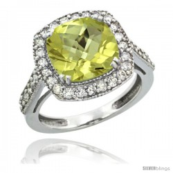 10k White Gold Diamond Halo Lemon Quartz Ring Checkerboard Cushion 9 mm 2.4 ct 1/2 in wide