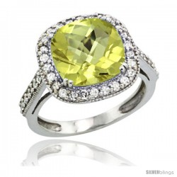 10k White Gold Diamond Halo Lemon Quartz Ring Cushion Shape 10 mm 4.5 ct 1/2 in wide