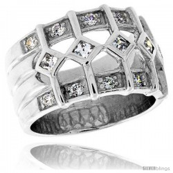 Highest Quality Sterling Silver 1/2 in (13 mm) wide Ladies' Right Hand Ring, Princess Cut & Brilliant Cut CZ Stones