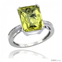 10k White Gold Diamond Lemon Quartz Ring 5.83 ct Emerald Shape 12x10 Stone 1/2 in wide -Style Cw927149