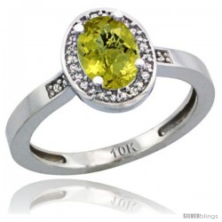 10k White Gold Diamond Lemon Quartz Ring 1 ct 7x5 Stone 1/2 in wide