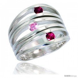 Highest Quality Sterling Silver 3/4 in (17 mm) wide Ladies' Right Hand Ring, Brilliant Cut Ruby & Pink Tourmaline-colored CZ