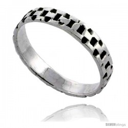 Sterling Silver Chain Link Wedding Band Ring 3/16 in wide -Style Tr475