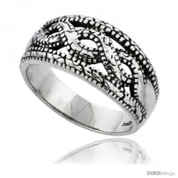 Sterling Silver Braided Bead Wedding Band Ring 7/16 in wide