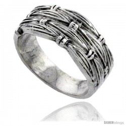 Sterling Silver Woven Wedding Band Ring 3/8 wide