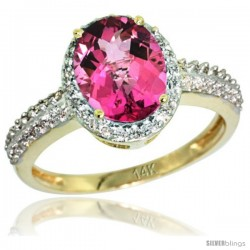 14k Yellow Gold Diamond Pink Topaz Ring Oval Stone 9x7 mm 1.76 ct 1/2 in wide
