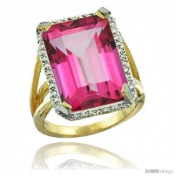 14k Yellow Gold Diamond Pink Topaz Ring 14.96 ct Emerald shape 18x13 Stone 13/16 in wide