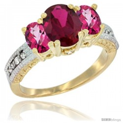14k Yellow Gold Ladies Oval Natural Ruby 3-Stone Ring with Pink Topaz Sides Diamond Accent