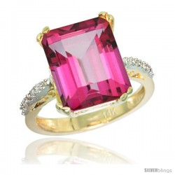 14k Yellow Gold Diamond Pink Topaz Ring 5.83 ct Emerald Shape 12x10 Stone 1/2 in wide
