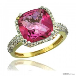 14k Yellow Gold Diamond Halo Pink Topaz Ring Checkerboard Cushion 11 mm 5.85 ct 1/2 in wide