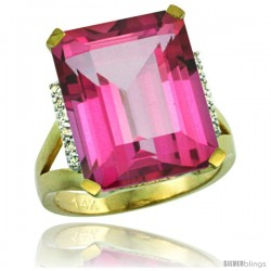 14k Yellow Gold Diamond Pink Topaz Ring 12 ct Emerald Cut 16x12 stone 3/4 in wide