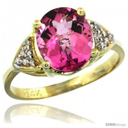 14k Yellow Gold Diamond Pink Topaz Ring 2.40 ct Oval 10x8 Stone 3/8 in wide
