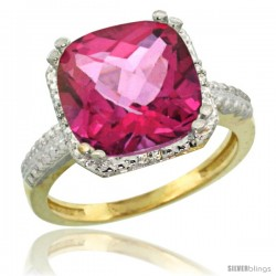 14k Yellow Gold Diamond Pink Topaz Ring 5.94 ct Checkerboard Cushion 11 mm Stone 1/2 in wide