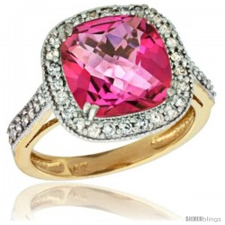 14k Yellow Gold Diamond Halo Pink Topaz Ring Checkerboard Cushion 9 mm 2.4 ct 1/2 in wide