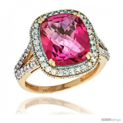 14k Yellow Gold Diamond Halo Pink Topaz Ring Checkerboard Cushion 12x10 4.8 ct 3/4 in wide