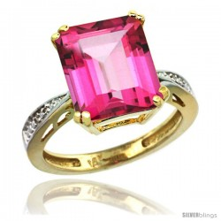 14k Yellow Gold Diamond Pink Topaz Ring 5.83 ct Emerald Shape 12x10 Stone 1/2 in wide -Style Cy406149