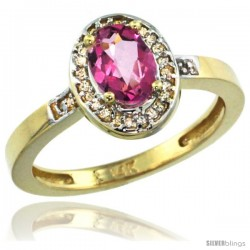 14k Yellow Gold Diamond Pink Topaz Ring 1 ct 7x5 Stone 1/2 in wide
