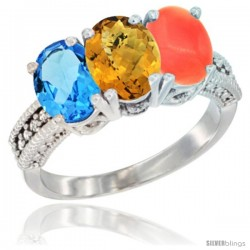 14K White Gold Natural Swiss Blue Topaz, Whisky Quartz & Coral Ring 3-Stone 7x5 mm Oval Diamond Accent