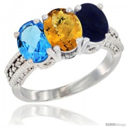 14K White Gold Natural Swiss Blue Topaz, Whisky Quartz & Lapis Ring 3-Stone 7x5 mm Oval Diamond Accent